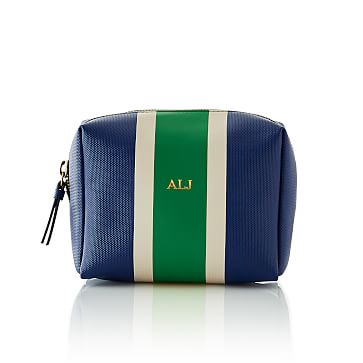 League Stripe Cosmetics Pouch, Navy and Green