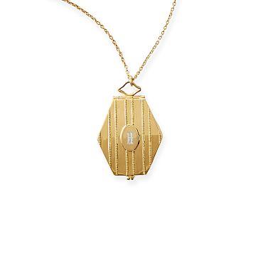 Elongated Hexagon Locket Necklace, Gold Plate