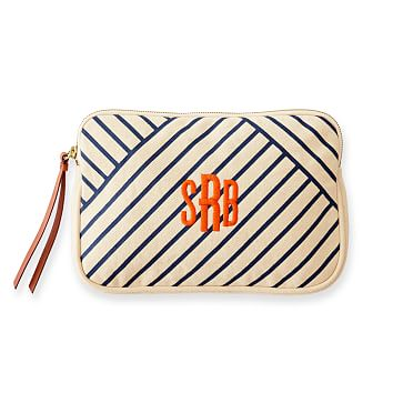Stripe Canvas Pouch, Natural and Navy
