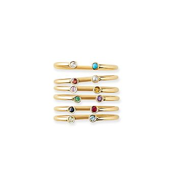 Dual Birthstone Ring, 14kt Gold, Size 4