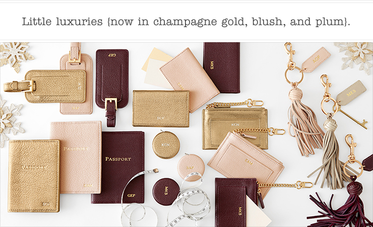 Little leather luxuries {now in champagne gold, blush, and plum}.