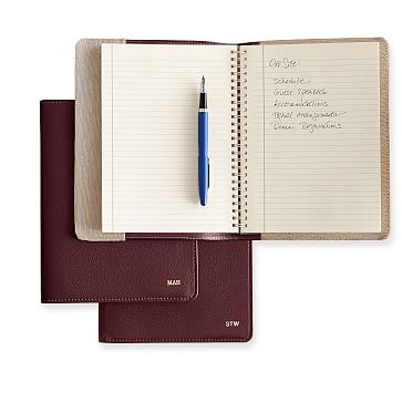 Leather Refillable Journal, Plum, Cover with Insert