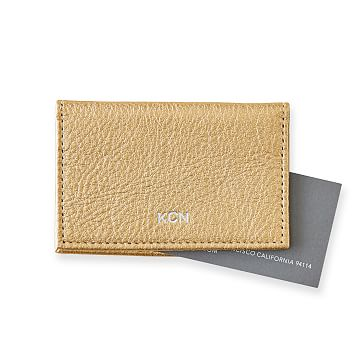 Leather Foldover Business Card Holder, Champagne Gold
