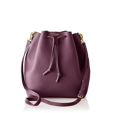 The Daily Bucket Bag, Leather, Plum