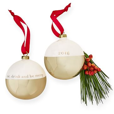 2016 Glass Ornament, Eat, Drink, Be Merry, White and Gold
