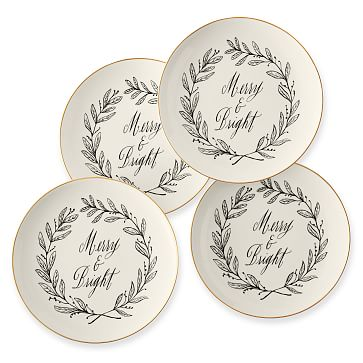Maybelle Calligraphy Ceramic Dessert Plates, Set of 4, Merry & Bright