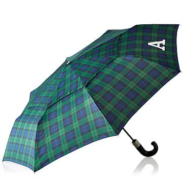 ShedRain Compact Vented Umbrella, Monogrammed, Navy Watch Plaid
