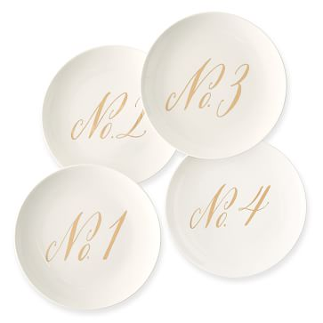 Maybelle Calligraphy Ceramic Dessert Plates, Set of 4, Numbers 1-4