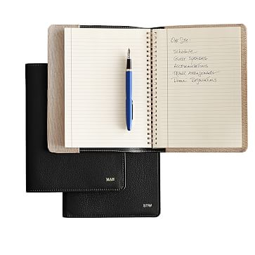 Leather Refillable Journal, Black, Cover with Insert