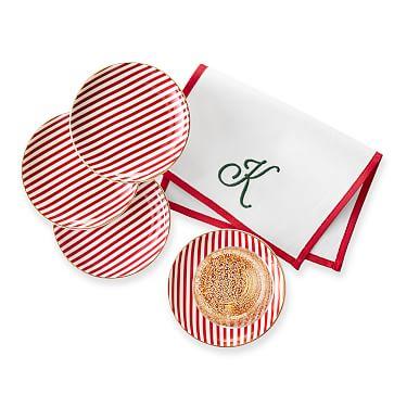 Ceramic Coasters, Set of 4, Candy Cane Stripe