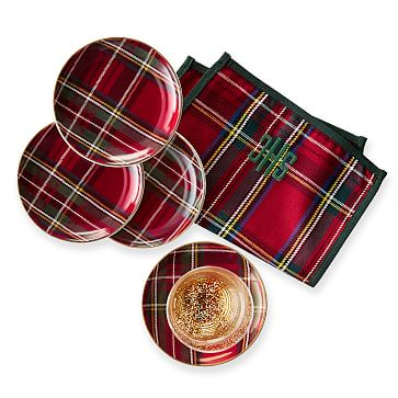 Ceramic Coasters, Set of 4, Red Preppy Plaid