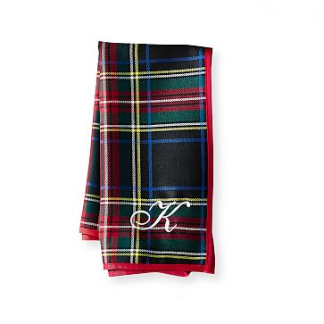 Plaid Dinner Napkins, Set of 4, Black Preppy Plaid