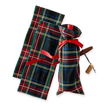 Fabric Wine Bag, Set of 3, Midnight Preppy Plaid