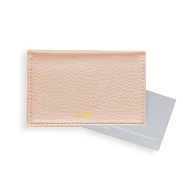 Leather Foldover Business Card Holder, Blush