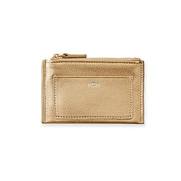 Vivid Zip Card Case, Champagne Gold