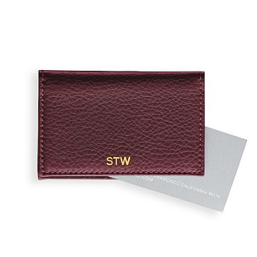 Leather Foldover Business Card Holder, Plum