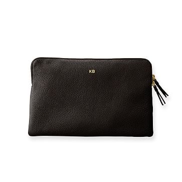 The Daily Zip Pouch, Leather, Black
