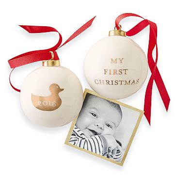2016 Ceramic Ornament, My First Christmas, White and Gold