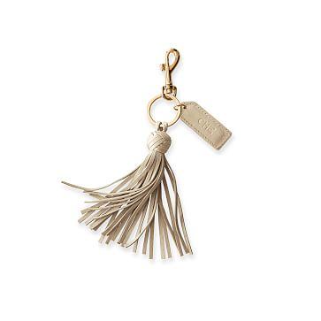 Leather Tassel Key Chain, Champagne Gold