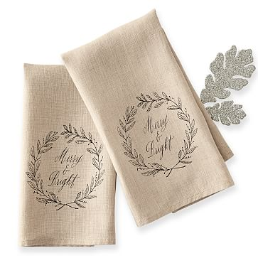 Maybelle Calligraphy Linen Guest Towels, Set of 2, Merry & Bright