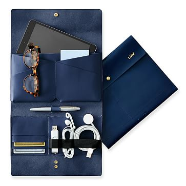 Leather Tech Envelope, Navy
