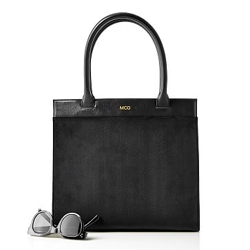 Velvet Herringbone Handbag, Black