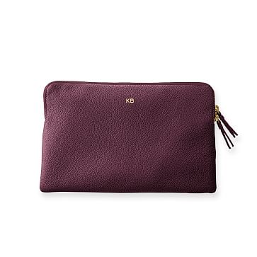 The Daily Zip Pouch, Leather, Plum