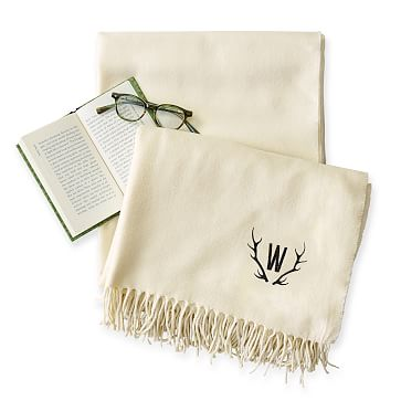 Throw Blanket with Fringe, Solid Ivory