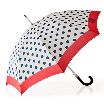 ShedRain Polka Dot Umbrella, White with Navy Polka Dot