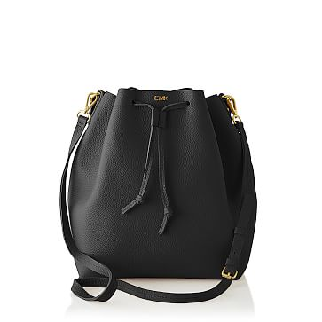 The Daily Bucket Bag, Leather, Black