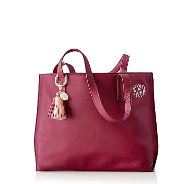 Lenox Leather City Tote, Berry