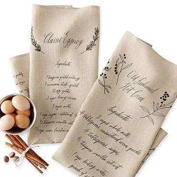 Maybelle Calligraphy Linen Tea Towels, Set of 2, Hot Cocoa and Eggnog Recipes