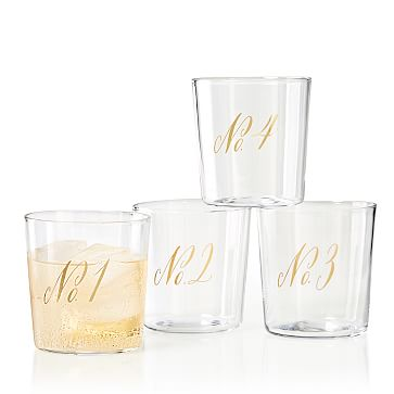 Maybelle Calligraphy DOF Glasses, Set of 4, Numbers 1-4