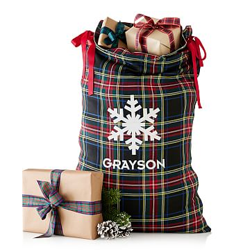 Santa Sack, Black Preppy Plaid