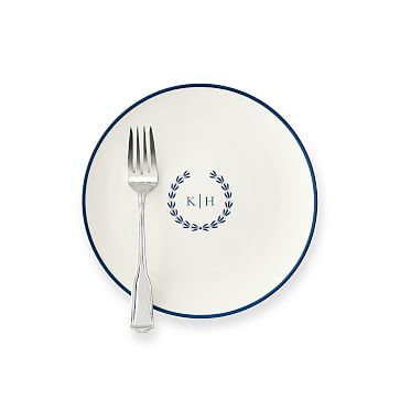 Monogrammed Porcelain Dessert Plate, Set of 4, 8.25 inches, White