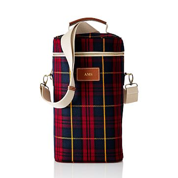 Insulated Wine Tote, Double, Red Plaid