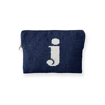 Needlepoint Initial Zip Pouch, Navy-White, J Initial