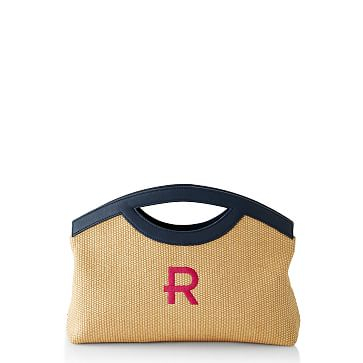 Amalfi Clutch, Navy Leather and Straw