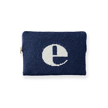 Needlepoint Initial Zip Pouch, Navy-White, E Initial