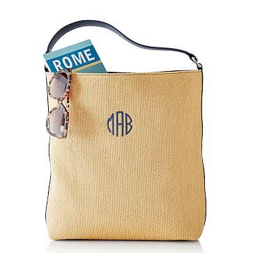 Amalfi Hobo, Navy Leather and Straw