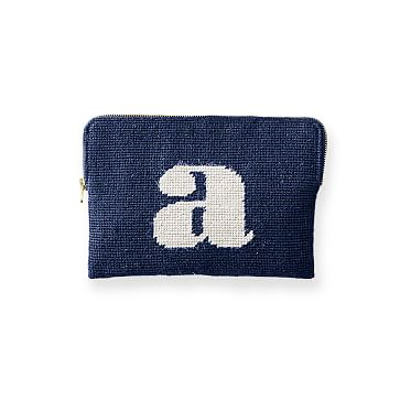 Needlepoint Initial Zip Pouch, Navy-White, A Initial