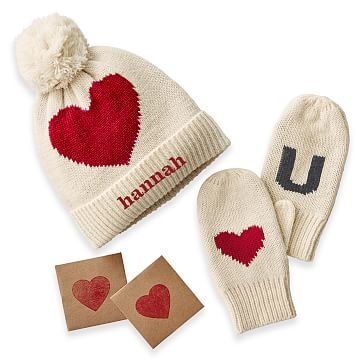 Child's Mitten and Hat Set, Ivory and Red Heart