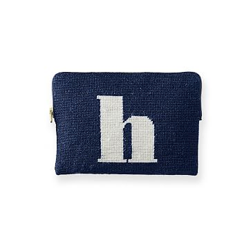 Needlepoint Initial Zip Pouch, Navy-White, H Initial