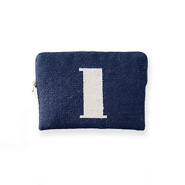 Needlepoint Initial Zip Pouch, Navy-White, L Initial