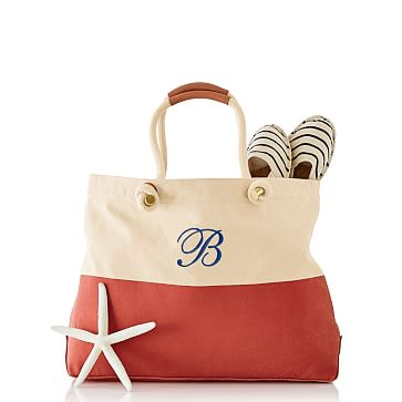 Dipped Canvas Beach Tote, Red