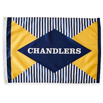 Personalized Nylon Flag, Hourglass, 2 feet x 3 feet, Yellow and Blue