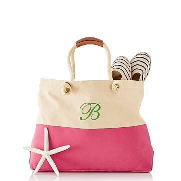 Dipped Canvas Beach Tote, Pink