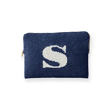 Needlepoint Initial Zip Pouch, Navy-White, S Initial