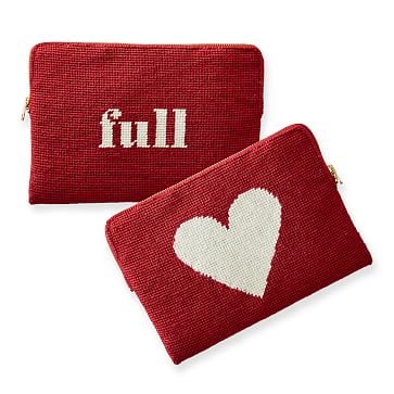 Needlepoint Zip Pouch, Red-White, Full Heart