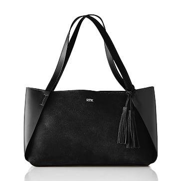 Tassel Suede Handbag, Black